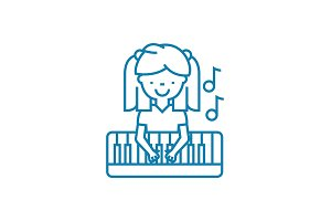 Musical education linear icon concept. Musical education line vector sign, symbol, illustration.
