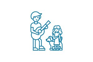 Musical performance linear icon concept. Musical performance line vector sign, symbol, illustration.