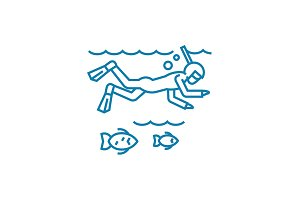 Ocean diving linear icon concept. Ocean diving line vector sign, symbol, illustration.