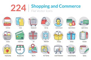 224 Shopping and Commerce Flat Icons