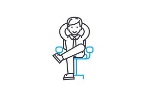 Office worker linear icon concept. Office worker line vector sign, symbol, illustration.