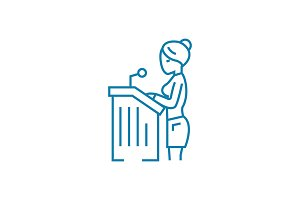Official speech linear icon concept. Official speech line vector sign, symbol, illustration.