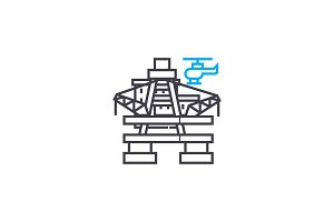 Oil platform linear icon concept. Oil platform line vector sign, symbol, illustration.