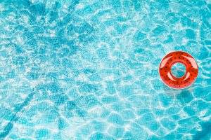 Pool float in the water