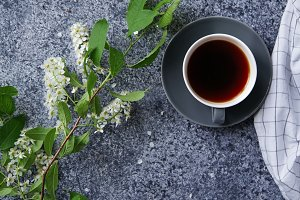 Flatlay with bird-cherry tree flowers and cup of coffee