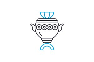 Painted vase linear icon concept. Painted vase line vector sign, symbol, illustration.