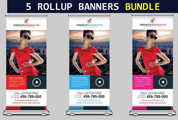 5 Roll Up Banners Bundle