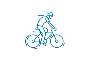 Participation in cycling linear icon concept. Participation in cycling line vector sign, symbol, illustration.
