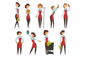Female professional cleaner set, cleaning company team cartoon vector Illustrations