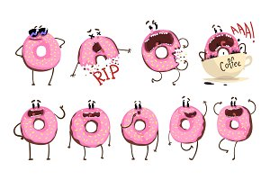 Funny pink donut cartoon character set, cute doughnut with different emotions vector Illustrations
