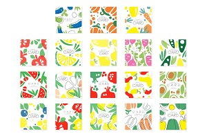 Vegetable cards collection original design, posters with eggplant, pepper, carrot, avocado, beet vector illustrations