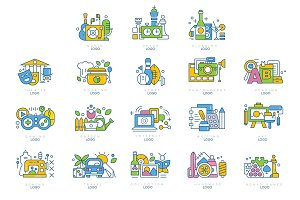 Logo set, theatre, cooking, sport, writing, photography, art, handmade, board game, reading labels, creativity, science and art vector illustrations