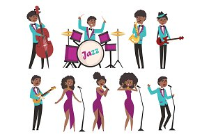 Cartoon jazz artists characters singing and playing on musical instruments. Contrabassist, drummer, saxophonist, guitarists and singers. Flat vector illustration