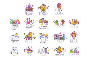 Kids line logo set. Paint palette with brush, castle, cat, rollers, rainbow with clouds, robot, cake with gifts, drawing pad and pen. Vector design