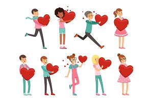 Cute enamored people characters set with paper red hearts in hands. Preparing for Valentine s Day. Flat vector on white.