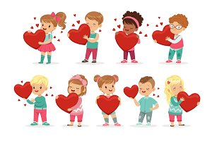 Set of cute kids characters with paper red hearts in hands. Cute cartoon illustration of boys and girls. Flat vector on white.
