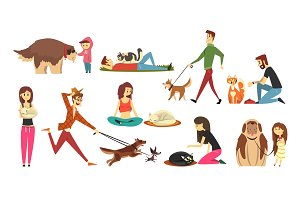 Happy people with their cats set, cute pets with their owners cartoon vector Illustrations
