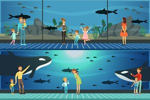 People visiting an oceanarium set of vector Illustrations, parents with children watching underwater scenery with sea animals