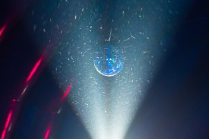 Disco ball and blue light ray