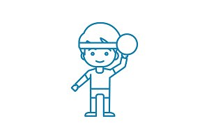 Playing handball linear icon concept. Playing handball line vector sign, symbol, illustration.