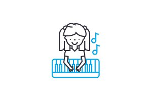 Playing piano linear icon concept. Playing piano line vector sign, symbol, illustration.