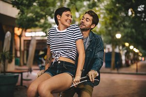 Couple enjoying on bicycle