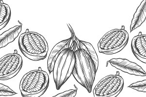 Cocoa bean tree design template