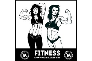 Womans fitness showing muscles - Female Fitness