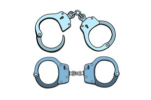 Metal handcuffs illustration
