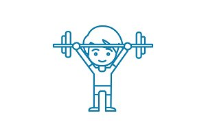 Powerlifting linear icon concept. Powerlifting line vector sign, symbol, illustration.