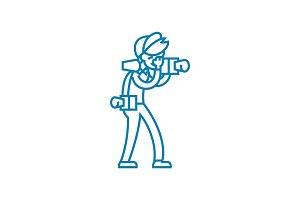 Professional photojournalist linear icon concept. Professional photojournalist line vector sign, symbol, illustration.