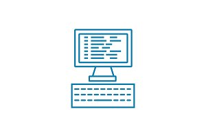 Programming linear icon concept. Programming line vector sign, symbol, illustration.