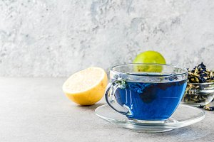 Blue butterfly pea flower tea