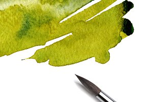 watercolor paint with brush