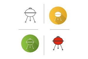 Kettle barbecue grill icon