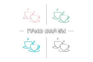 Cups with hot drink hand drawn icons set