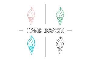 Ice cream cone hand drawn icons set