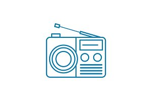 Radio set linear icon concept. Radio set line vector sign, symbol, illustration.