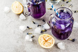 Iced butterfly pea flower tea