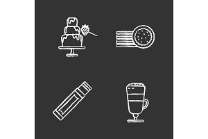 Condectionery chalk icons set