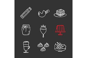 Confectionery chalk icons set