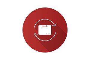 Parcel return service flat design long shadow glyph icon
