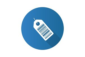 Barcode label flat design long shadow glyph icon
