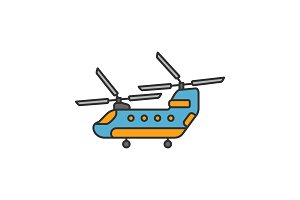 Military helicopter color icon