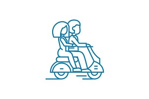 Riding on a motorcycle linear icon concept. Riding on a motorcycle line vector sign, symbol, illustration.