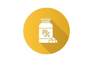 RX pill bottle flat design long shadow glyph icon