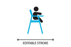 Child sitting in dining highchair silhouette icon