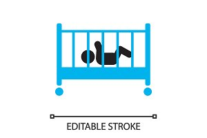 Child sleeping in crib silhouette icon