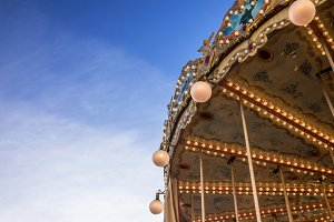 French carousel orleans against blue sky
