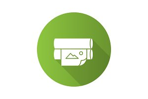 Offset printer flat design long shadow glyph icon